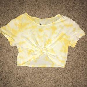 PACSUN Yellow Tie Dye crop top